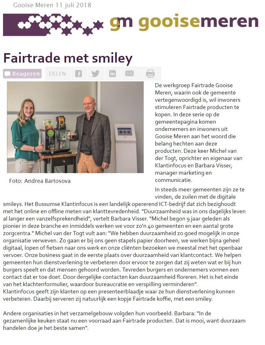 Artikel Klantinfocus Fairtrade Gemeente Gooise meren