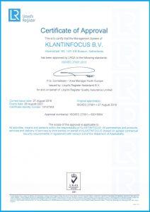 ISO Certificaat KLANTINFOCUS Engelse versie