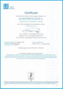 ISO Certificaat KLANTINFOCUS Nederlandse versie