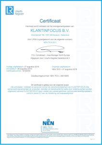 NEN Certificaat KLANTINFOCUS Nederlandse versie