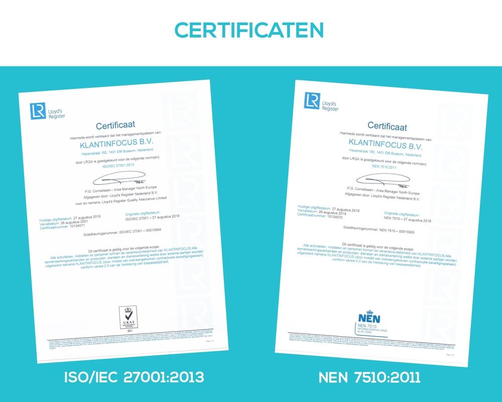Certificaten Klantinfocus ISO NEN