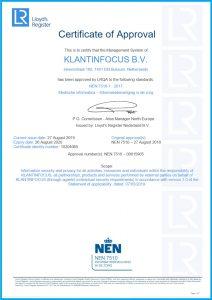 Certificaat NEN 7510-1 2017 Engels KLANTINFOCUS