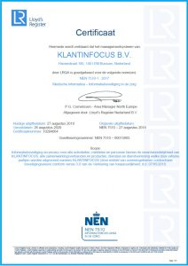 Certificaat NEN nederlands KLANTINFOCUS